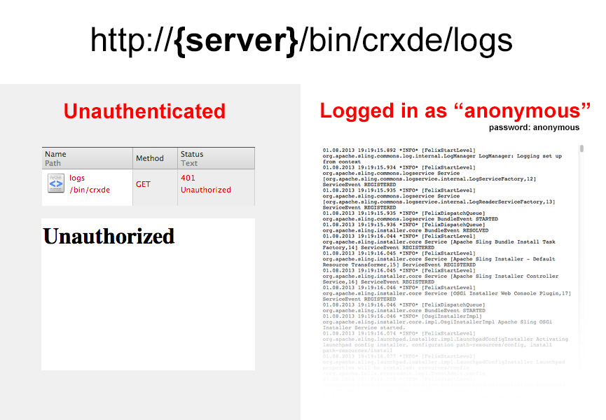 "When logged in as the ""anonymous"" user, you have access to server logs"